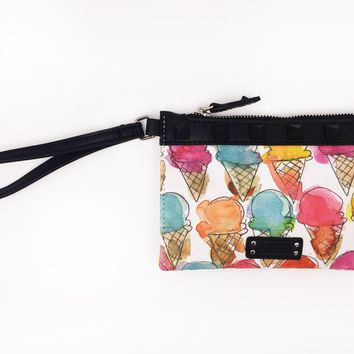 Ice Cream Cones Canvas Wristlet