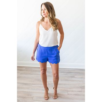 Scalloped To Perfection Shorts - Royal Blue