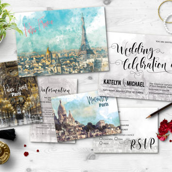 Digital Printable Files Destination Wedding Paris Eiffel Tower Watercolor Painting Wedding Invitation RSVP Card Set Wedding Stationery ID660