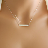 Personalized Initial Necklace, Bar Monogram Necklace, Rectangle Necklace Bridesmaid Gift, Bridesmaid Necklace, Bridesmaid Jewelry