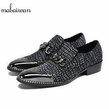 Mabaiwan Black Leather Moccasins Casual Shoes Boots Loafers Chain Flats Pointed Toe Wedding Dress Party Shoes Men Ankle Boots