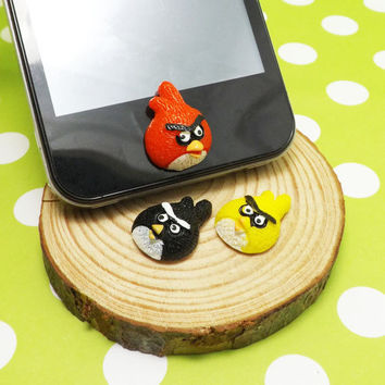 Cute Black Red Yellow Angry Bird Cartoon DIY Home Button Sticker for Apple Products Such as iPhone 3,4/4s,5,ipad 2,3,4,iPod itouch