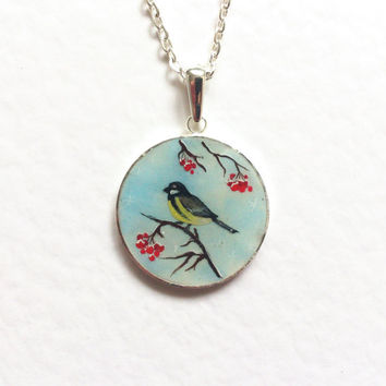 Titmouse. Hand painted pendant Titmouse bird winter blue gift for pet lover