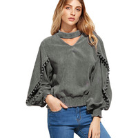 Autumn Winter Fashion Women Blouses Hanging Neck Long sleeve Sexy V-Neck Shirt Top Casual Gray Loose Ladies Blusas