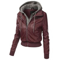 Faux Twinset Pocket Womens Leather Jacket