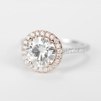 Two - Tone Round Forever Brilliant Moissanite Diamond Halo Engagement Ring - 14K Rose and White Gold