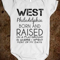 West Philly Onesuit-Unisex White Baby Onesuit 00