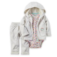 carter's® 3-Piece Hoodie, Floral Bodysuit, and Pant Set in Grey/Multicolor