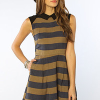 The Beetle Juice Stripe Collared Dress in Parisian Nights
