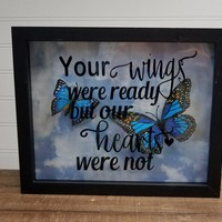 Memorial Gift for Her - Memorialize your unborn baby or infant loss with our custom black memorial shadow box filled with butterflies