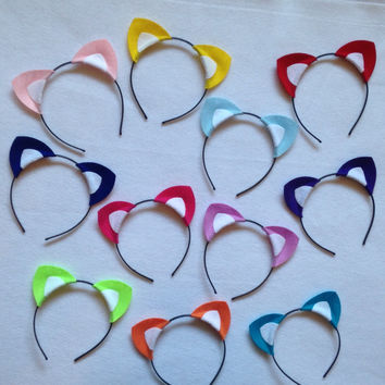 1 Kitty cat ears headband birthday party favor supplies theme colorul rainbow pink blue green purple yellow kitten baby adult child children