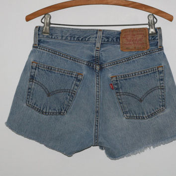 High Waist Denim Shorts Levis 501 29 cut offs Medium Light Wash Distressed grunge festival boho hipster gypsy Frayed Fringe Jeans 8 M 28 6 S