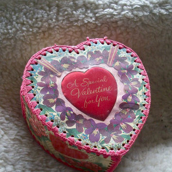 Vintage Heart Box -A Valentine To Daughter-Made From Old Valentines Cards Retro Valentines Day Handmade