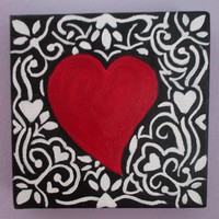 Valentines Day, Red Heart Painting, Heart of canvas, square canvas, red, black, white