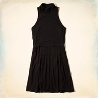 Pleated Mock Neck Dress