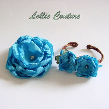 Bitsy Bloom bracelet and rosebud hairpiece set by lolliecouture