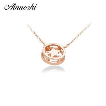 AINUOSHI 18K Solid Rose Gold Circle Five Star Shaped Lovely Necklace Pendants Lady Wedding Party Pendants Jewelry