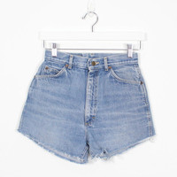 Vintage Denim Cut Offs LEE Denim Shorts 1990s Shorts High Waisted Shorts Blue Jean Shorts 90s Soft Grunge Cut Off Mom Shorts S Small 27