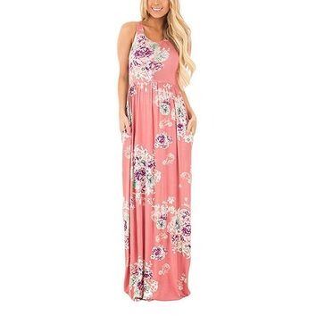 Bohemian Floral Print Summer Dresses Sundress Sleeveless Sexy Maxi Dress Casual Beach Women Dress Long Robe Mujer LX328