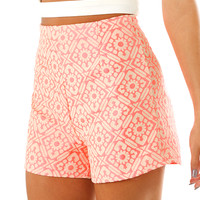 Listen To Your Heart Shorts: Neon Pink/Ivory