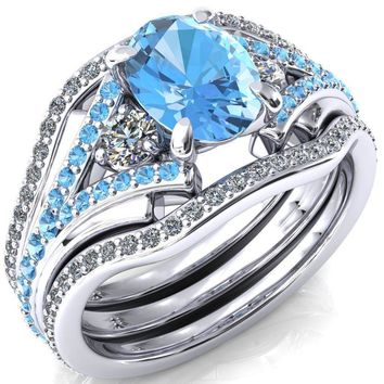 Arietis Oval Lab-Created Aqua Blue Spinel Diamond Sides 3/4 Eternity Accent Aqua Blue Spinel Ring