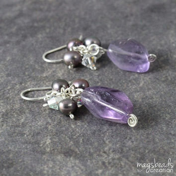 Glamour Purple Amethyst Earrings, Sweet Romantic Jewelry, Elegant, Exclusive, Dangle Cluster Earrings, February Birthstone, Jewellery