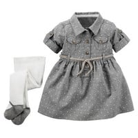 2-Piece Flannel Shirt Dress & Tights Set