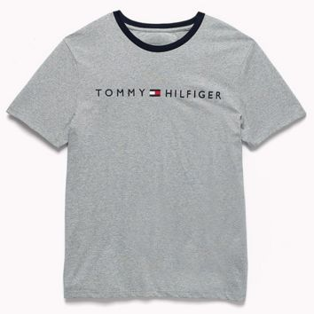 Tommy New fashion bust letter print couple top t-shirt Gray