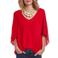 RED SHIRT WITH RUFFLE 3/4 SLEEVE