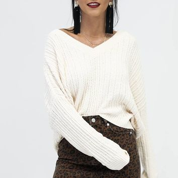 Home Town Ivory V Neck Chenille Sweater