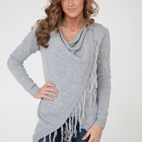 Fringe Trim Wrap Sweater - Grey