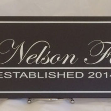 Personalized Family Name Sign Plaque Established Family Sign Painted Chocolate Brown 7x22, Custom Wedding / Anniversary / Housewarming Gifts