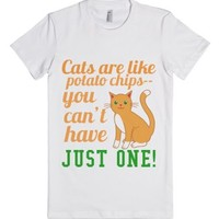 Cats are Like Potato Chips-Female White T-Shirt