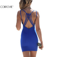 COLROVE Beach Summer Style Women Bodycon Dresses Sexy 2016 New Casual Sleeveless Blue Backless Spaghetti Strap Mini Dress