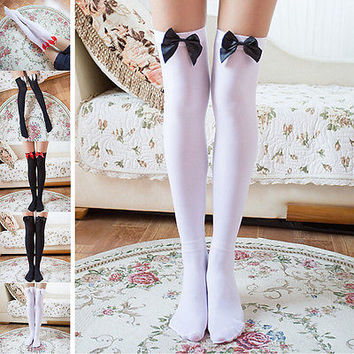 Girl Stretchy Meias Over The Knee High Socks Stockings Tights With Bows Thigh HU