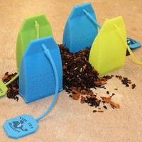 Butler in the Home Tea Butler Silicone Tea Bag Infuser 4 Pack of Tea Infusers Strainer Loose Herbal Tea Leaf Filter in Blue Green and Yellow