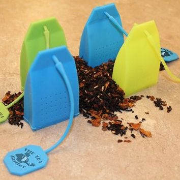 Tea Infuser 4 Pack Butler in the Home® Silicone Tea Bag Water Infusers Strainer Loose Herbal Tea Leaf Filter in Blue Green and Yellow