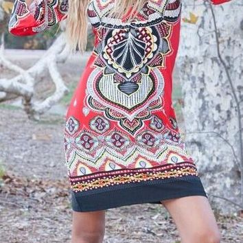 Madelyn Print Dress in Red Black Short Shift V Neck 3/4 Sleeves