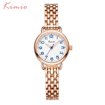 KIMIO Fashion Simple Wrist Watch Women Bracelet Watch Strap Skeleton Pointer 3D Arabic Numerals Scale Womens Watches Top Brand