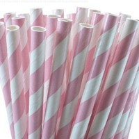 "25 Paper Drinking Straws Baby Pink Stripes 7.75"" Retro Vintage Style Durable"