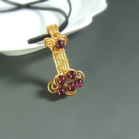 Garnet gold pendant 18 k gold plated handmade stone necklace, OOAK jewelry