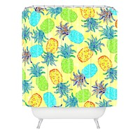 Lisa Argyropoulos Pineapple Pandemonium Yellow Shower Curtain
