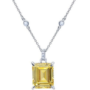 CRISLU CZ Emerald Cut Necklace