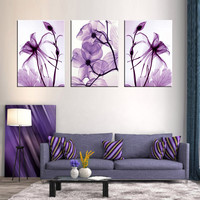 Combined 3 Pcs set Purple Flower Wall Art Painting Picture for BedRoom