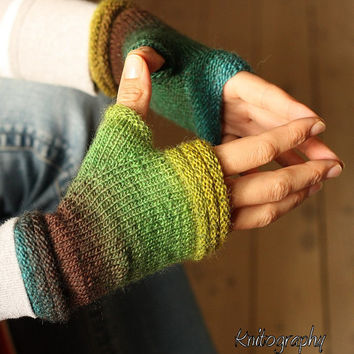 "Fingerless mittens ""Autumn Rain"" - one-of-a-kind - fine yarn and lush colours, green, brown, blue"