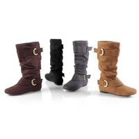 Brinley Co. Womens Regular and Wide-Calf Buckle Microsuede Slouch Boot