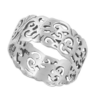 925 Sterling Silver Eternity Filigree Op Art 9MM Ring