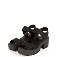 Black Chunky Cleated Sole Block Heel Sandals
