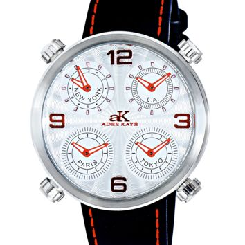 Adee Kaye AK2275-MSV Mens Watch 4 Time Zones Red Accents Silver-Tone Case