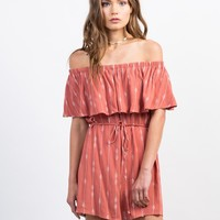 Embroidered Off-the-Shoulder Romper